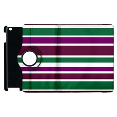 Purple Green Stripes Apple Ipad 2 Flip 360 Case by BrightVibesDesign
