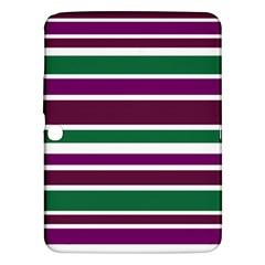 Purple Green Stripes Samsung Galaxy Tab 3 (10.1 ) P5200 Hardshell Case  by BrightVibesDesign