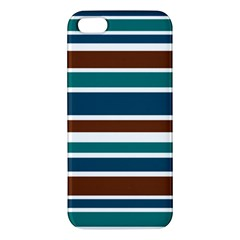 Teal Brown Stripes Iphone 5s/ Se Premium Hardshell Case by BrightVibesDesign