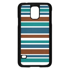 Teal Brown Stripes Samsung Galaxy S5 Case (black) by BrightVibesDesign
