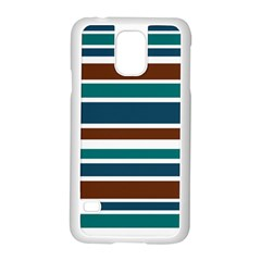 Teal Brown Stripes Samsung Galaxy S5 Case (white) by BrightVibesDesign