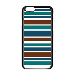 Teal Brown Stripes Apple Iphone 6/6s Black Enamel Case by BrightVibesDesign