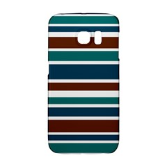 Teal Brown Stripes Galaxy S6 Edge by BrightVibesDesign
