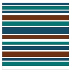Teal Brown Stripes Large Satin Scarf (square) by BrightVibesDesign