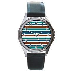 Teal Brown Stripes Round Metal Watch by BrightVibesDesign