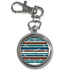 Teal Brown Stripes Key Chain Watches by BrightVibesDesign