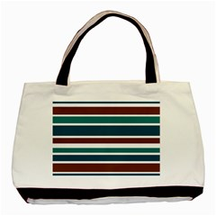Teal Brown Stripes Basic Tote Bag by BrightVibesDesign