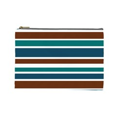 Teal Brown Stripes Cosmetic Bag (large)  by BrightVibesDesign