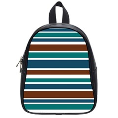 Teal Brown Stripes School Bags (small)  by BrightVibesDesign