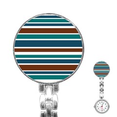 Teal Brown Stripes Stainless Steel Nurses Watch by BrightVibesDesign