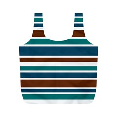 Teal Brown Stripes Full Print Recycle Bags (M)  by BrightVibesDesign