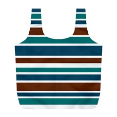 Teal Brown Stripes Full Print Recycle Bags (L)  by BrightVibesDesign