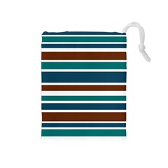 Teal Brown Stripes Drawstring Pouches (medium)  by BrightVibesDesign