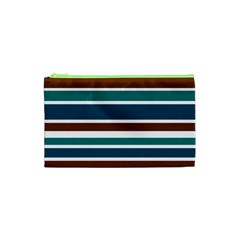 Teal Brown Stripes Cosmetic Bag (xs) by BrightVibesDesign