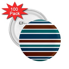 Teal Brown Stripes 2 25  Buttons (100 Pack)  by BrightVibesDesign