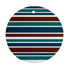Teal Brown Stripes Round Ornament (two Sides)  by BrightVibesDesign