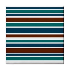 Teal Brown Stripes Face Towel by BrightVibesDesign