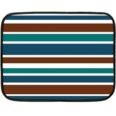 Teal Brown Stripes Double Sided Fleece Blanket (mini)  by BrightVibesDesign