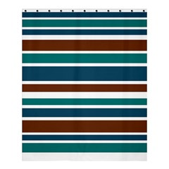 Teal Brown Stripes Shower Curtain 60  X 72  (medium)  by BrightVibesDesign