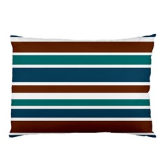 Teal Brown Stripes Pillow Case (two Sides) by BrightVibesDesign