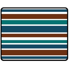 Teal Brown Stripes Double Sided Fleece Blanket (medium)  by BrightVibesDesign