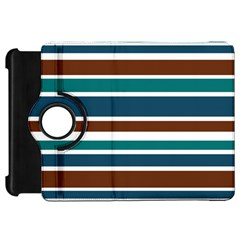 Teal Brown Stripes Kindle Fire Hd Flip 360 Case by BrightVibesDesign