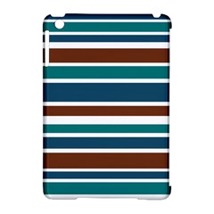 Teal Brown Stripes Apple iPad Mini Hardshell Case (Compatible with Smart Cover) by BrightVibesDesign