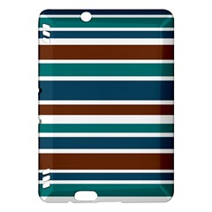 Teal Brown Stripes Kindle Fire HDX Hardshell Case by BrightVibesDesign