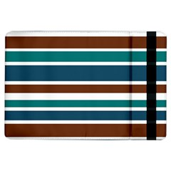 Teal Brown Stripes Ipad Air Flip by BrightVibesDesign