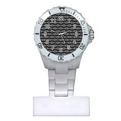 Black White Tiki Pattern Plastic Nurses Watch by BrightVibesDesign