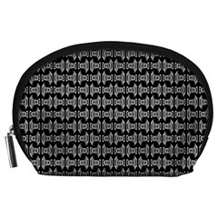 Black White Tiki Pattern Accessory Pouches (Large)  by BrightVibesDesign