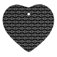 Black White Tiki Pattern Ornament (Heart)  by BrightVibesDesign
