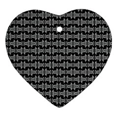 Black White Tiki Pattern Heart Ornament (2 Sides) by BrightVibesDesign
