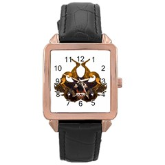 Demon Tribal Mask Rose Gold Leather Watch  by dflcprints