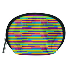 Colorful Stripes Background Accessory Pouches (Medium)  by TastefulDesigns