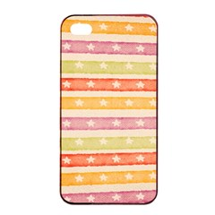 Watercolor Stripes Background With Stars Apple Iphone 4/4s Seamless Case (black) by TastefulDesigns