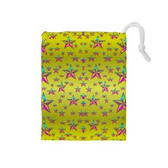 Flower Power Stars Drawstring Pouches (medium)  by pepitasart