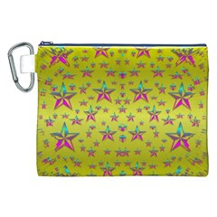 Flower Power Stars Canvas Cosmetic Bag (XXL)  by pepitasart