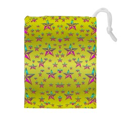 Flower Power Stars Drawstring Pouches (extra Large) by pepitasart