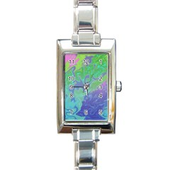 Green Blue Pink Color Splash Rectangle Italian Charm Watch by BrightVibesDesign