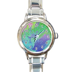 Green Blue Pink Color Splash Round Italian Charm Watch by BrightVibesDesign