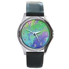 Green Blue Pink Color Splash Round Metal Watch by BrightVibesDesign