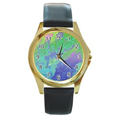 Green Blue Pink Color Splash Round Gold Metal Watch by BrightVibesDesign