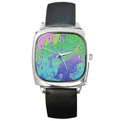 Green Blue Pink Color Splash Square Metal Watch by BrightVibesDesign