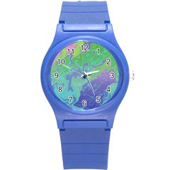 Green Blue Pink Color Splash Round Plastic Sport Watch (s) by BrightVibesDesign