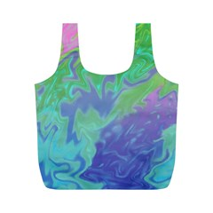 Green Blue Pink Color Splash Full Print Recycle Bags (m)  by BrightVibesDesign