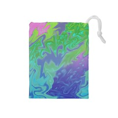 Green Blue Pink Color Splash Drawstring Pouches (medium)  by BrightVibesDesign