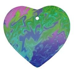 Green Blue Pink Color Splash Ornament (heart)  by BrightVibesDesign