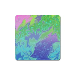 Green Blue Pink Color Splash Square Magnet by BrightVibesDesign