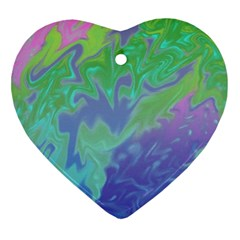 Green Blue Pink Color Splash Heart Ornament (2 Sides) by BrightVibesDesign